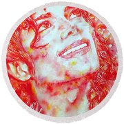 Michael Jackson - Watercolor Portrait.2 Round Beach Towel by Fabrizio Cassetta