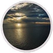 Midnight Sun Over Mount Susitna Round Beach Towel by Andrew Matwijec