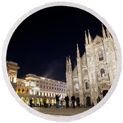 Milan Cathedral Vittorio Emanuele II Gallery Italy Round Beach Towel