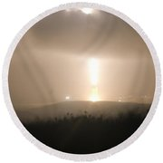 Round Beach Towel featuring the photograph Minuteman IIi Missile Test by Science Source