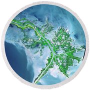 Mississippi River Delta Round Beach Towel