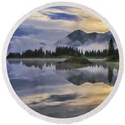 Molas Lake Sunrise Round Beach Towel