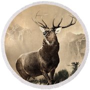 Monarch Of The Glen Round Beach Towel