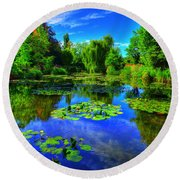 Monet's Lily Pond Round Beach Towel