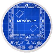 Monopoly Patent 1935 - Blue Round Beach Towel by Stephen Younts