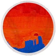Monument Valley Original Painting Round Beach Towel