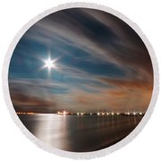 Moon Rise Over Anna Maria Island Historic City Pier Round Beach Towel