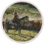 Morning In The Highwoods Round Beach Towel