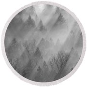 Morning Light -vertical Round Beach Towel