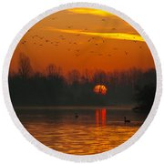 Round Beach Towel featuring the photograph Morning Over River by Davor Zerjav