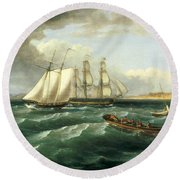 Mouth Of The Delaware Round Beach Towel