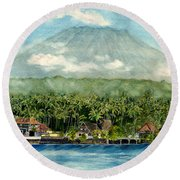 Round Beach Towel featuring the painting Mt. Agung Bali Indonesia by Melly Terpening