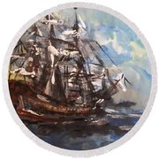 Round Beach Towel featuring the painting My Ship by Laurie L