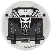 My Superhero-vw-t1-punisher Round Beach Towel