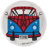 My Superhero-vw-t1-spiderman Round Beach Towel