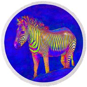 Round Beach Towel featuring the digital art Neon Zebra 2 by Jane Schnetlage