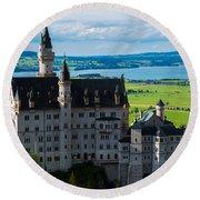 Neuschwanstein Castle - Bavaria - Germany Round Beach Towel by Gary Whitton