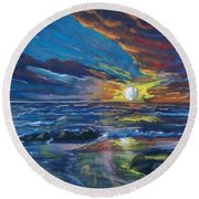 Never Ending Sea Round Beach Towel by Peter Suhocke