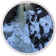 The Wintery Flume  Round Beach Towel