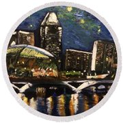 Night On The River Round Beach Towel