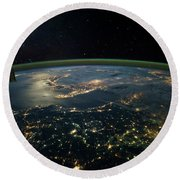 Night Time Satellite View Of Planet Round Beach Towel