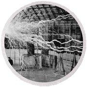 Nikola Tesla Serbian-american Inventor Round Beach Towel