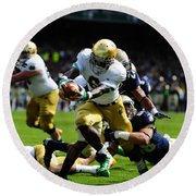 Notre Dame Versus Navy Round Beach Towel by Mountain Dreams