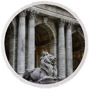Ny Library Lion Round Beach Towel by Jerry Fornarotto
