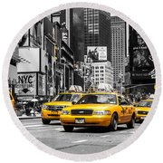 Nyc Yellow Cabs - Ck Round Beach Towel