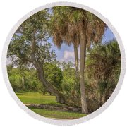 Round Beach Towel featuring the photograph Oak Trees by Jane Luxton