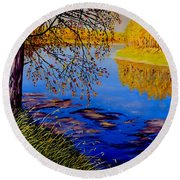 Round Beach Towel featuring the painting October Afternoon by Sher Nasser