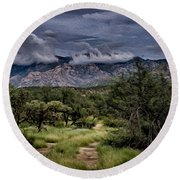 Odyssey Into Clouds Oil Round Beach Towel