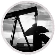 Oil Well Pump Jack Black And White Round Beach Towel
