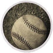 Old Baseball Round Beach Towel