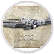 Old Crow P-51 Mustang - Map Background Round Beach Towel