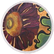 Old Fashion Flower Round Beach Towel