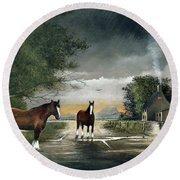 Round Beach Towel featuring the painting Old Friends by Ken Wood