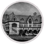 Old Post Office - Customs House B/w Round Beach Towel by Sandy Keeton