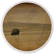 Western Themed South Dakota Bison  Round Beach Towel