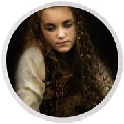 Round Beach Towel featuring the photograph Olivia by John Rivera