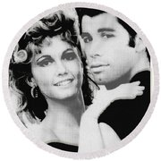 Olivia Newton John And John Travolta In Grease Collage Round Beach Towel