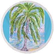 On The Beach Round Beach Towel by Kathy Marrs Chandler