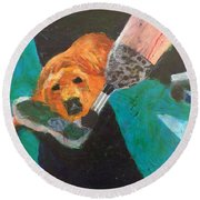 Round Beach Towel featuring the painting One Team Two Heroes - 1 by Donald J Ryker III