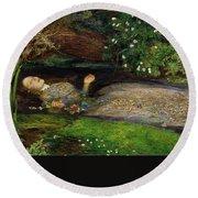 Ophelia Round Beach Towel by John Everett Millais