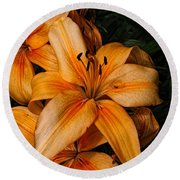 Orange Lilies Round Beach Towel