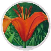 Orange Lily Round Beach Towel by Pamela Clements
