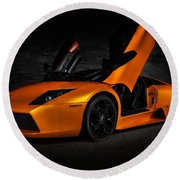 Orange Murcielago Round Beach Towel