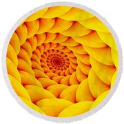 Yellow Pillow Vortex Round Beach Towel
