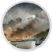 Round Beach Towel featuring the painting Original Site Of The Black Country Museum by Ken Wood