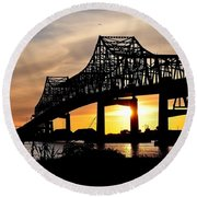 Over The Mississippi Round Beach Towel